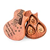 Wooden Guitar Picks Personalized Guitar Pick Box Case Holder Collector Custom Any Message 3pcs Picks Gifts for Guitar Banjo Ukulele Players