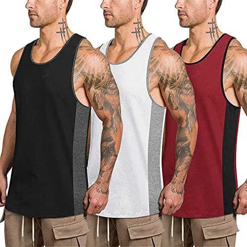 COOFANDY Herren Tank Top Baumwolle Sport Gym Ärmelloses Achselshirts Sleevesless Shirt Workout Laufen Joggen Fitness Bodybuilding,Weiß,Weinrot, Schwarz,XXL