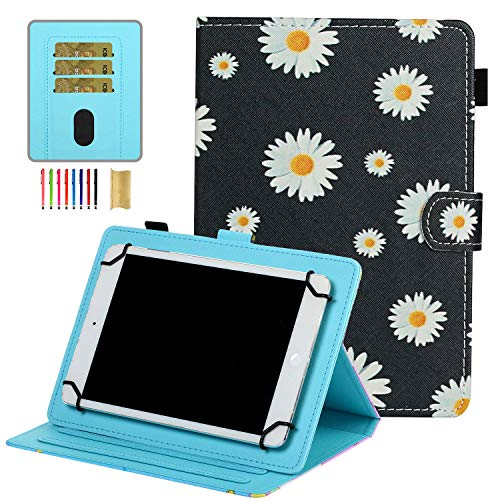 7 inch Universal Tablet Cover, APOLL Anti-Scratch Flower Series Slim Stand Case for Samsung Tab 7.0 T280/T110/T210/for Voyager 7'/for Mediapad 7.0 and All 6.5-7.5' Android Windows Tablet, Daisy