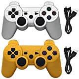 Ceozon PS3 Controller Wireless Playstation 3 Controller Compatible for Sony PS3 Controller Wireless Remote Joystick with Charging Cables Sliver and Gold