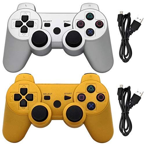 Ceozon PS3 Controller Wireless Playstation 3 Controller Bluetooth Gamepad for Playstation 3 Remote Joystick with Charging Cords 2 Pack Silver + Gold