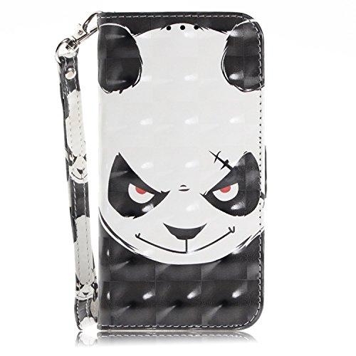 vingarshern Hülle für Wileyfox Storm Schutzhülle Etui Tasche Klappbares Magnetverschluss Flip Case Lederhülle Handytasche Wileyfox Storm Hülle Leder Brieftasche(Panda-1) MEHRWEG