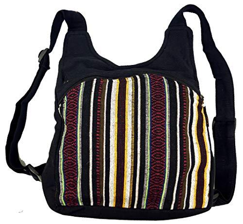 GURU SHOP Ethno Rucksack, Nepalrucksack - Schwarz, Herren/Damen, Baumwolle, Size:One Size, 30x30x13 cm, Ausgefallene Stofftasche