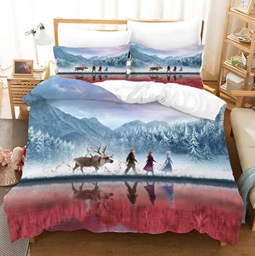 Aatensou Juego de ropa de cama de Disney Frozen, muy cómodo y lujoso, de poliéster, ropa de cama supersuave (A1,135 x 200 cm y 50 x 75 cm)