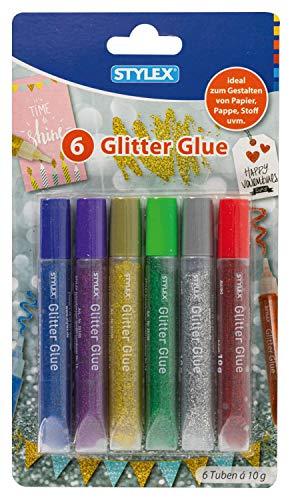 Stylex 25100 Glitter Glue, 6 Tuben in verschiedenen Farben á 10 g, Kleber mit funkelndem Glitzer, lösungsmittelfrei, zum Basteln und Verzieren, mehrfarbig, one size