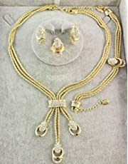 Gold Plated Jewelry Sets Adorned with Crystal (4 Pieces)