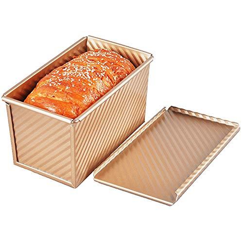 Pan con tapa, molde de tostada duradero de acero al carbono antiadherente para hornear pan dorado