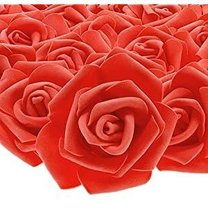 Juvale Rose Flores Cabezales – 100 unidades rosas artificiales, perfecto para decoración de bodas, baby showers…