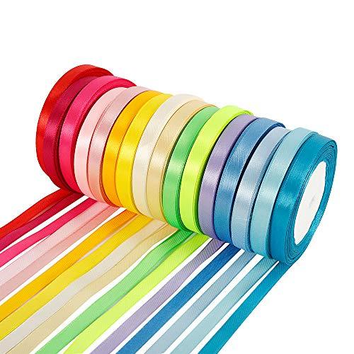 16 kleuren lint zijde satijnen rol 400 werven dubbelzijdig satijnen lint stof lint 10mm breed voor strikken haarbanden geschenkpakket DIY-maken ambacht naaien lint bruiloft partij decoratie (16 rollen)