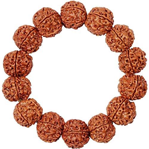YANGYANG Pulseras de patrón de Moda para Hombres, Pulseras de Cuentas de la Naturaleza para Mujeres, joyería de Budismo de meditación de Buda religioso-18Mm