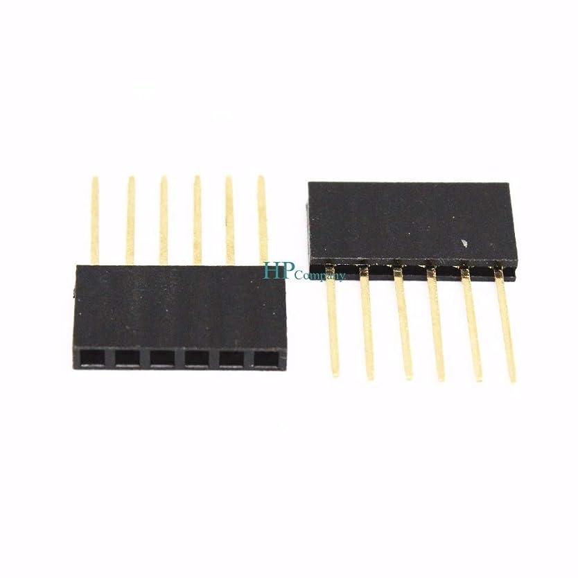 相対的柔らかさライナーWillBest 100PCS Female Single Row Pin Header Socket Connector Strip Copper 2.54mm 6Pin Long 1*T6 11MM