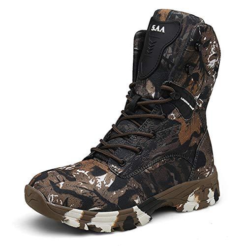 MERRYHE Männer Militärstiefel Camouflage Tactical Boot Desert Combat Boot Leichte Multi-Terrain-Outdoor-Sportarten Camping Wanderschuh,Brown-44