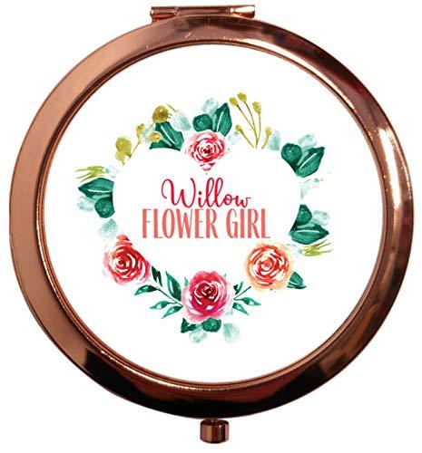 Flox Creative Miroir carré carré compact doré rose pour mariée n'importe quel rôle Bleu