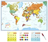 "World Happy Map Educational Laminated World Map 34"" X 22"" 