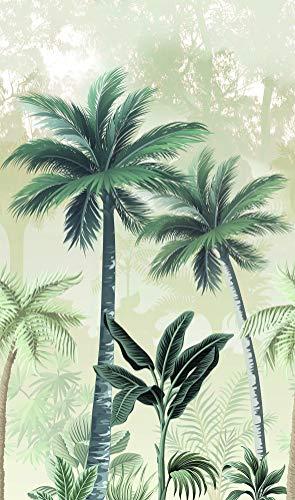 Fototapete Dschungel Beige, Grün - Vlies, Palmen, Pflanzen, Bäume, Blätter - für Schlafzimmer, Wohnzimmer, Küche, Kinderzimmer - Made in Germany - Neu - 2,70m x 1,59m - 47203