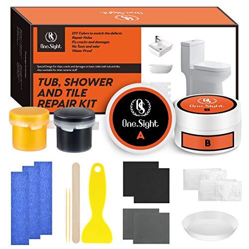 One Sight Kit de reparación para azulejos de bañera y lavabos de 7 oz, kit de reparador de ducha blanca para esmalte, cerámica, fibra de vidrio, porcelana y acrílico (más combinación de colores)
