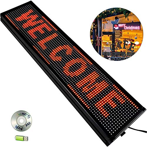 """VEVOR Led Sign 40"""" x 8"""" Digital Sign Red Color Indoor with high Resolution P10 Led Scrolling Display Programmable by PC & WiFi & USB for Advertising"""