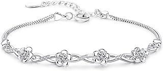 925 الفضة الاسترليني مجوهرات امرأة الأرجواني كريستال أساور سحر أساور للنساء مربع سلاسل سوار يانجين (اللون: أبيض)