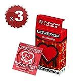 18 Profilattici LovePop, preservativo classico 3 astucci da 6 pz, 18 preservativi classici diametro 54mm, profilattico di puro lattice naturale lievemente profumato alla fragola, 18 condom in lattice