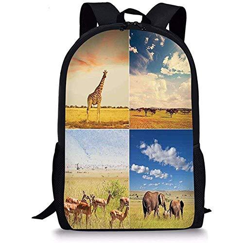 Hui-Shop Safari de Mochilas Escolares, Safari Africano Collage Collage con Animales nativos Pastizales Sabanas Mamals Foto, Niños Niñas