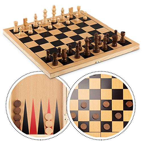 STERLING Games 3 in 1 Chess Checkers Backgammon Game Set with 15in Wooden Folding Board for Storage