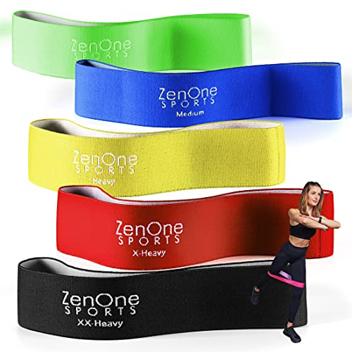 Fitnessbänder Set I 5 Trainingsbänder ZenLoops inkl. Gratis E-Book, Workout-Guide & Tasche I Das Premium Dehnband Resistance Band Set für effektives Training Zuhause (Bunt)