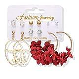 XAOQW Ladies Pearl Earrings Set Ladies Acrylic Pearl Earrings Bohemia Leopard Print Tassels Fashion Jewelry-Set Style 16