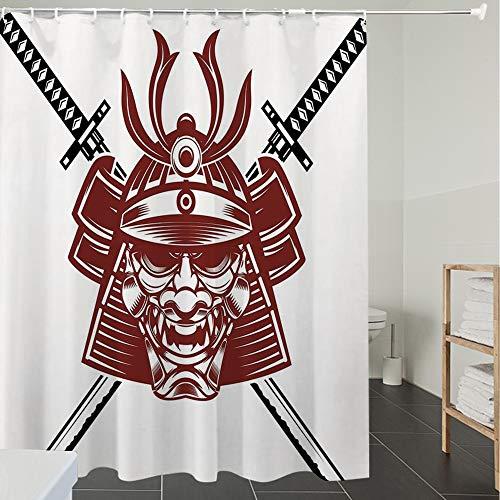 Derun Duschvorhänge, Textil Bad Vorhang aus Polyester, Anti-Schimmel, Kabuki Maskendekoration, Samurai-Gesicht mit gekreuzten Schwertern Ancient Knight,Blickdicht, Wasserdicht, Waschbar, 120X180CM
