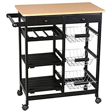 Merax Kitchen Trolley Cart, Black Fashion Kitchen Trolley With 2 Drawers