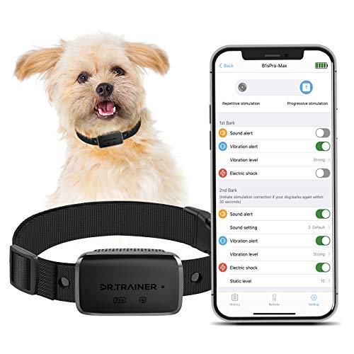 Dr.Trainer B1sPro Bark Collar APP&Watch Control, IP68 Waterproof Dog Training Collar with Smart...