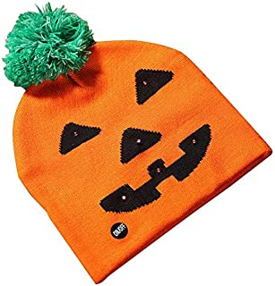 SODIAL LED Halloween Glowing Knit Cap Hat Christmas Sweater Beanie Light Up Knitted Hat Halloween Adult Christmas Party Pumpkin Hat