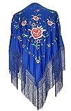 La Señorita Mantones bordados Flamenco Manton de Manila azul royal con flores