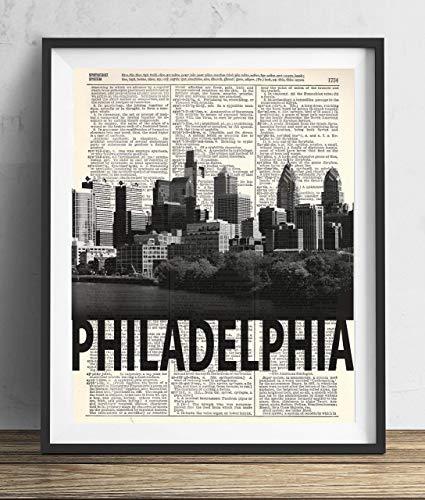 Philadelphia Skyline With Bold Name Dictionary Art Print 8x10