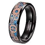iTungsten 6mm 8mm Silver/Black Tungsten Rings for Men Women Steampunk Gear Wheel Blue/Purple Carbon Fiber Inlay Beveled… 6