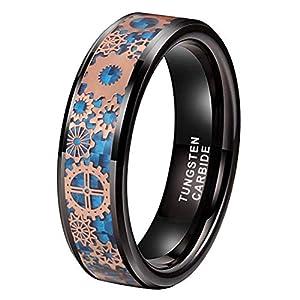iTungsten 6mm 8mm Silver/Black Tungsten Rings for Men Women Steampunk Gear Wheel Blue/Purple Carbon Fiber Inlay Beveled…