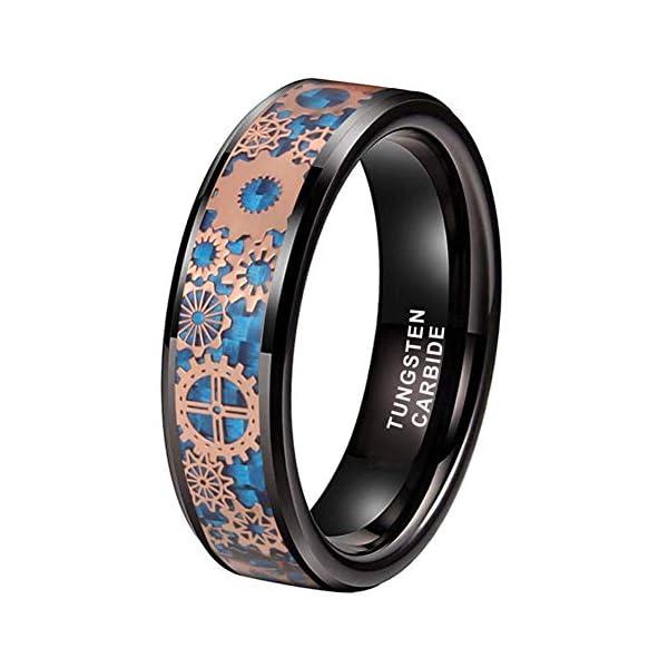 iTungsten 6mm 8mm Silver/Black Tungsten Rings for Men Women Steampunk Gear Wheel Blue/Purple Carbon Fiber Inlay Beveled… 3