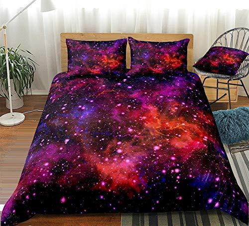 Prinbag Juego de Funda nórdica de Galaxia Colorida, Ropa de Cama de Espacio Exterior, Funda de edredón de Universo, Ropa de Cama con Brillo Colorido, Rojo, púrpura, 2/3 Piezas 150x200cm