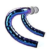 Nastro manubrio bici EVA Aurora scolorimento, nastro manubrio antivibrazione, nastri manubrio antiscivolo per bicicletta con 2 tappi terminali(blue)
