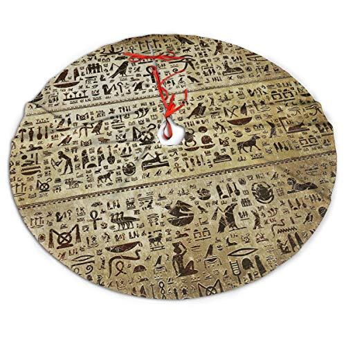 Christmas Tree Skirt Vintage Ancient Egyptian Hieroglyphs Snowman Xmas Tree Skirt Holiday Festive Decorations Ornaments Party Supplies 30'
