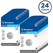 Westinghouse CR2450 Lithium Button Cell, Button Batteries, Coin Cells, Remote Battery, Remote Battery Cells (24 Counts)