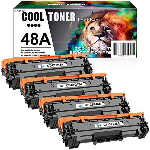 Cool Toner Compatible Toner Cartridge Replacement for HP 48A CF248A Toner Cartridge HP Laserjet Pro M15w MFP M29w M28w Toner M15a M28a M29a M16a M16w M15 M29 M28-M31 Toner Printer Ink (Black, 4-Pack)