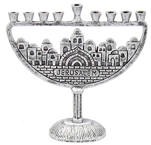 The Dreidel Company Menorah Jerusalem Old City (Old City Antique Silver Finish)