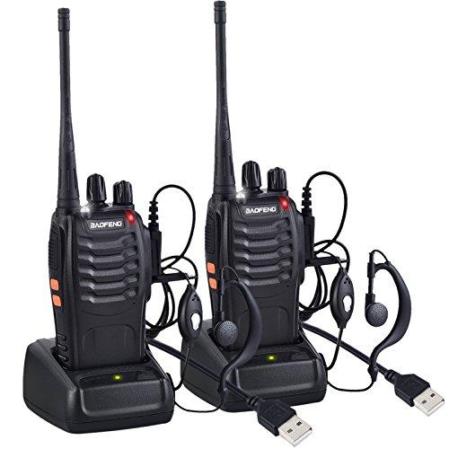 Neoteck Walkie Talkie Recargable 16 Canales CTCSS DCS hasta 5km con Auriculares Banda Única FM Transceptor de Mano con LED para Campo Bicicleta y Senderismo