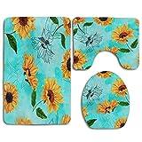 N\A Shabby Chic Sunflower Floral Alfombra de baño Set 3PCS Alfombra de baño Antideslizante Contorno, tapete y Tapa de Inodoro