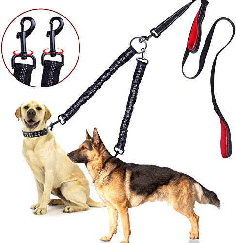 Yomi Doppel-Hundeleine, 360 ° drehbar, kein Verheddern, Hundeleine für 2 Hunde bis zu 90 kg, bequeme, verstellbare, doppelt gepolsterte Griffe