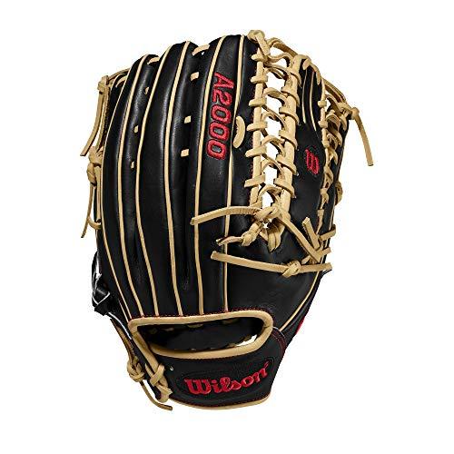 Wilson A2000 12.75-Inch SuperSkin Baseball Glove, Black/Blonde, Right (Left Hand Throw)
