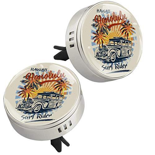 Sun Beach and Retro Woody Car Honolulu Palmera, 2 piezas difusor de aceites esenciales aromaterapia difusor de coche clip de ventilación