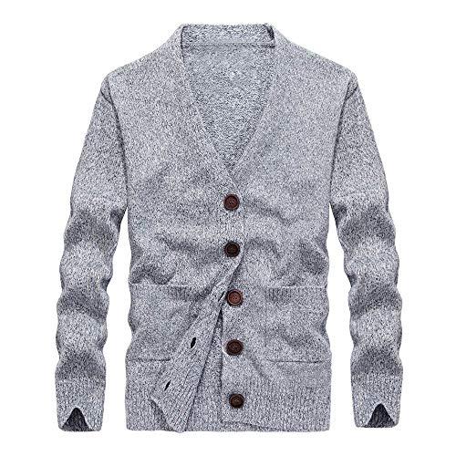 Price comparison product image Men's Jacket for Mens Autumn Winter Button Sweatshirt Jersey Knit, Pea Coat (L, Gray)