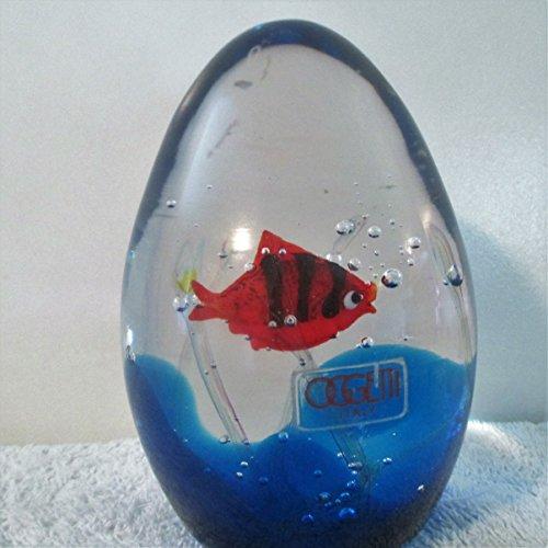 Oggetti Murano Italy Art Glass Paperweight Signed by Elio Raffael Fish/Bubbles