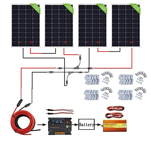 ECO-WORTHY 480W Off Grid Solarmodul Kit: 1000W 220V Wechselrichter + 4 PCS 120W Solarpanel + 20A Batterieladeregler für Home Boot RV